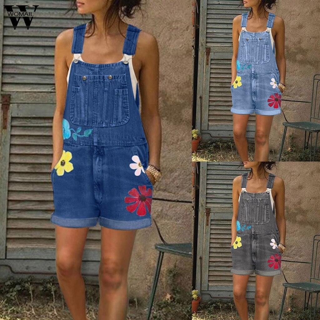 Womail Jumpsuits Women Summer Playsuit Denim Romper Overalls Oversized Jean Blue Sleeveless Denim short Jumpsuit Bodysuit 2020