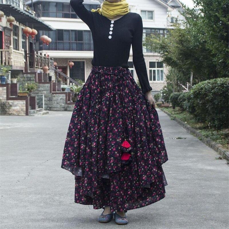 Women Ethnic style cotton linen Long Skirts Elastic Waist Floral print Maxi Skirts Vintage autumn winter Female irregular Skirts