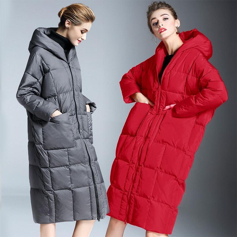 2020 Winter casual loose Cocoon Jacket Thick&Long sleeve hooded with Parkas winter women down jacket S-7XL big pocket 3