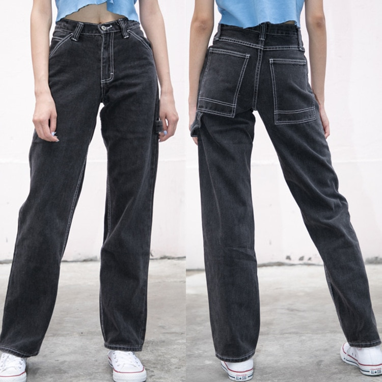 Jeans Women Loose Pants High Waist Pants Brandy Melville Women Straight Pipe Jeans Denim Pants Trousers Stretch Jeans Dropship