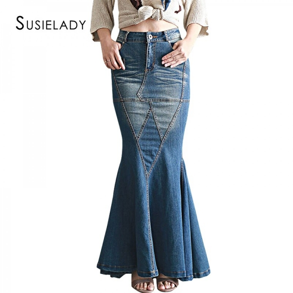 Stretch Waist Washed Denim Ruffle Fishtail Skirts