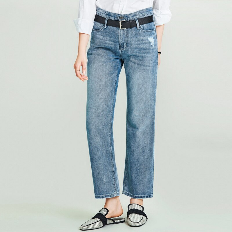HAVVA 2020 New Women's Retro Washed Old Straight Denim Long Jeans Female Loose Slim Denim Pants K4973