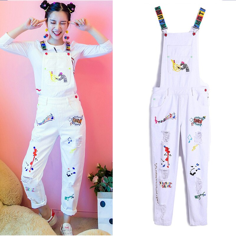 European embroidery holes denim jeans white rompers women casual jumpsuits leisure jeans overall capris ripped jeans NZ38