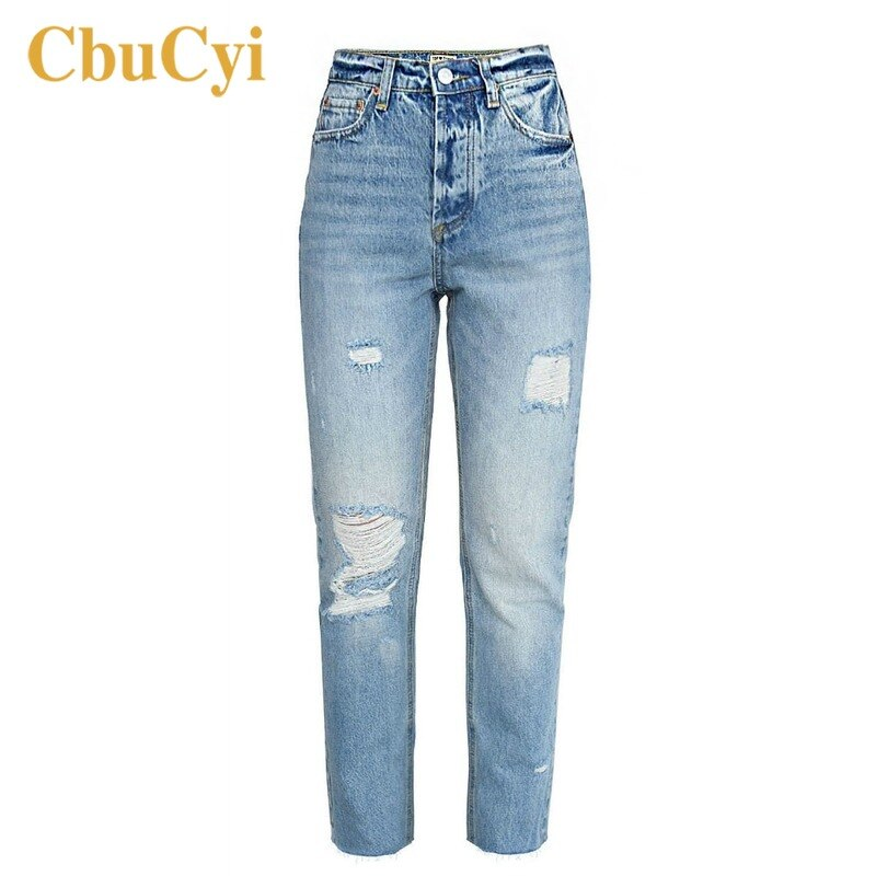 Women High Waist Jeans Pants Blue Soft Cotton Denim Pants Trousers Women Washed Ripped Hole Beggar Straight Jeans Cropped Pants