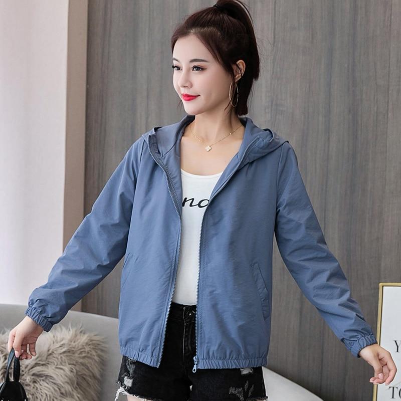 2020 AutumnJackets Women Basic Causal Solid Hooded Jacket Zipper Windbreaker Lightweight Women Hooded Jacket Coat veste femme 1