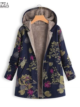 ZANZEA Autumn Winter Heat Print Coat Fur Lining