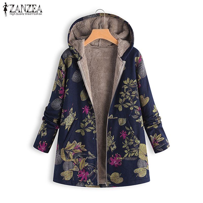 2020 ZANZEA Autumn Winter Warm Print Coat Fur Lining Women's Jackets Female Long Sleeve Hooded Outerwear Zipper Cardigans Tunic