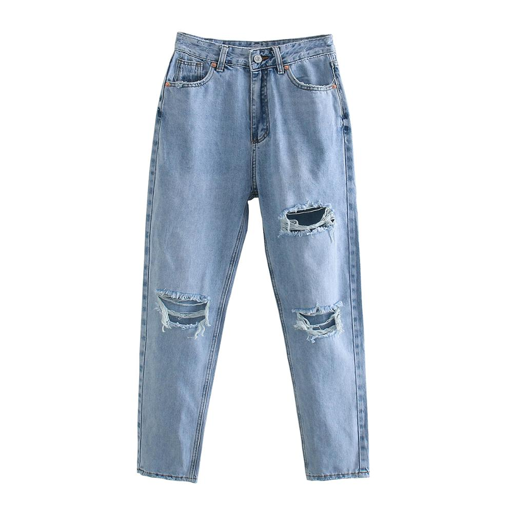 Za Women Jeans 2020 New High Street Fashion with High Waist Hollow Out Vintage Jeans Blue Long Denim Straight Pants For Women 4