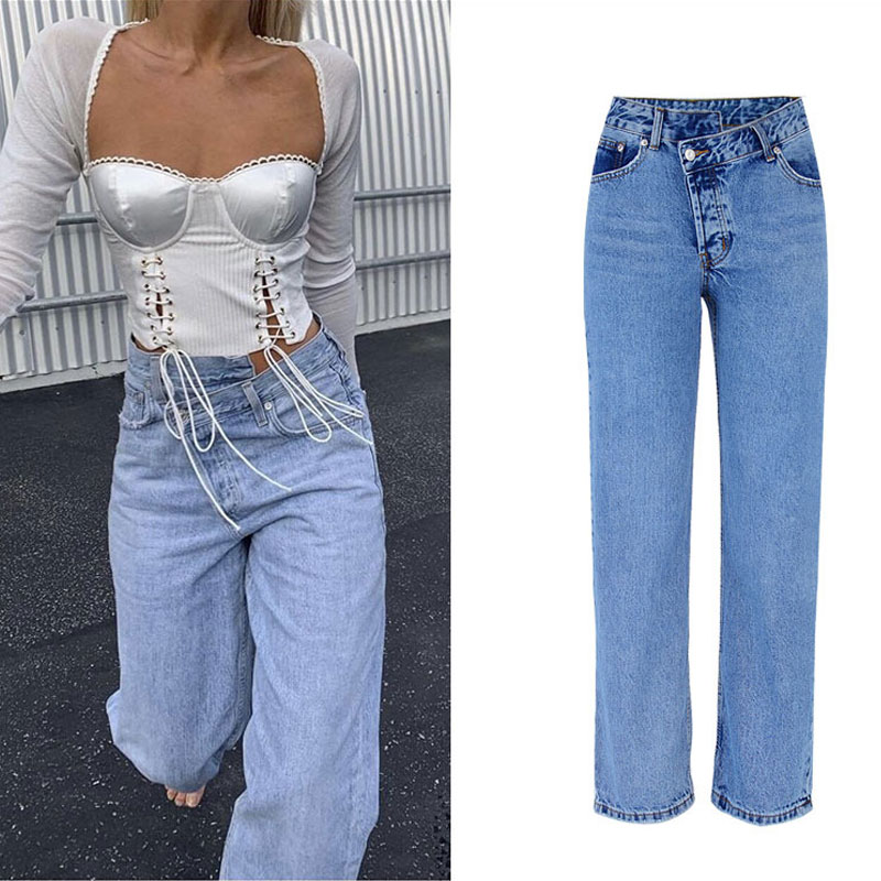 2020 High Waist Jeans Woman Casual Loose Women Denim Pants Straight Cotton Vintage Boyfriend Jeans Chic Long Trousers Streetwear 1