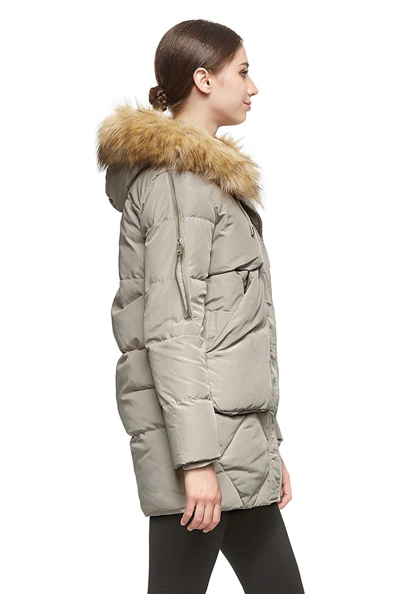 Women Thickened Mid-Long Down Jacket with Removable Fur Hood Large Pockets 3