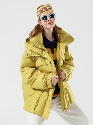 Toyouth Fashion Big Pockets Long Women Down Jacket
