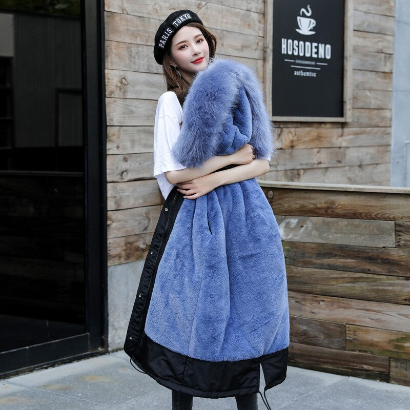New Arrival Women Autumn Winter Jacket Cotton Lining Padded Warm Big Fur Collar Long Coats Parka Womens Jackets Office Lady 1