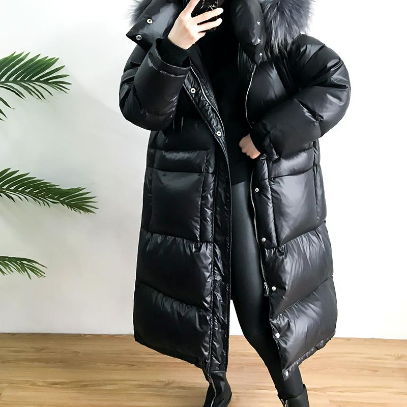 FTLZZ Large Real Natural Raccoon Fur Winter Women Down Jacket Long Thick Warm Coat White Duck Down Jacket Female Oversize 3