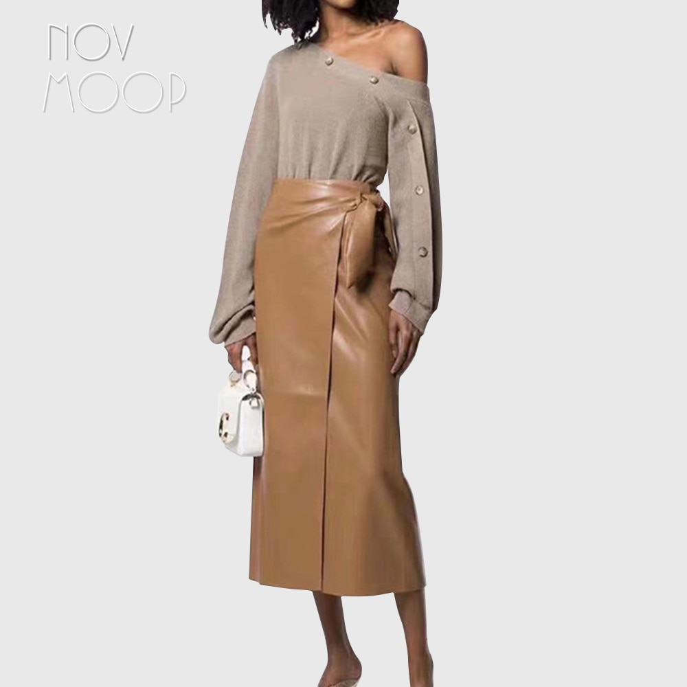 Novmoop casual style women spring high waist patchwork sheepskin genuine leather long skirt with bow decor spódniczka LT3066 1