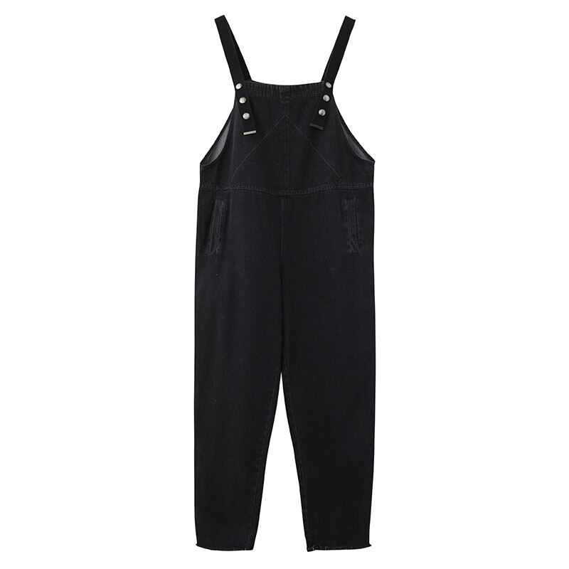 Spring Summer Women's Overalls Jeans New Large Size Black Denim Jumpsuit Loose Suspenders Jeans Casual Female Trousers Rompers 4
