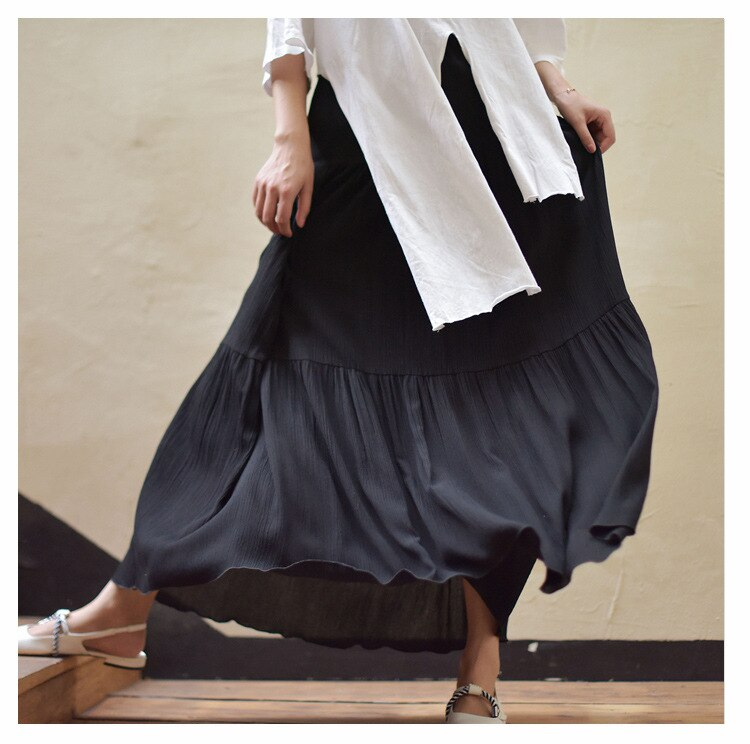 2019 Bohemian Women Stretch High Waist Solid Long Cotton Skirts Womens Boho Maxi Skirt Saia Longa Faldas Women Long Skirt 1