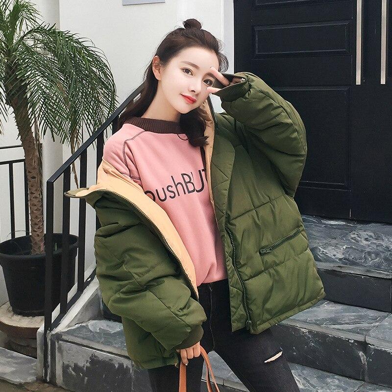 Women down coat 2020 new full zipper solid fashion cotton-padded women down jacket big hooded warm winter jacket women coat 2
