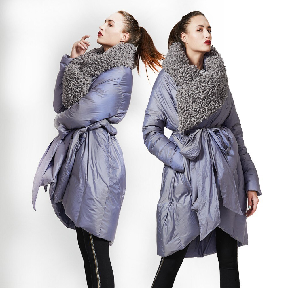 Eva Freedom Original Design down coat woman winter loose down coat Imitation beach wool cloak down jacket hooded women 2