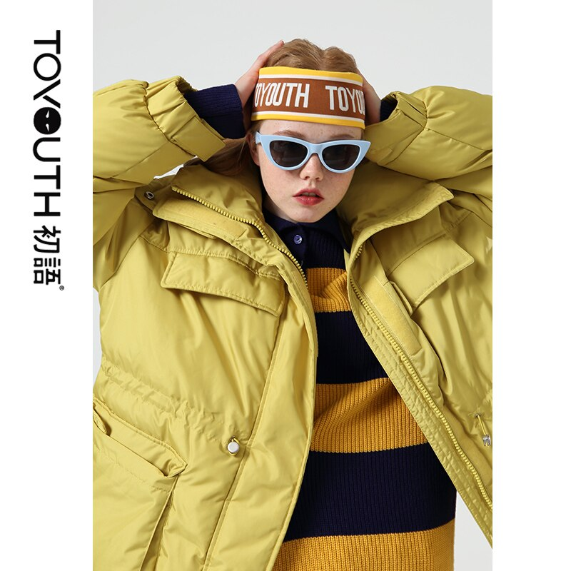 Toyouth Fashion Big Pockets Long Women Down Jacket Thicken Winter Warm Hooded Coat Casual Solid Long Sleeve Women Down Coat 3
