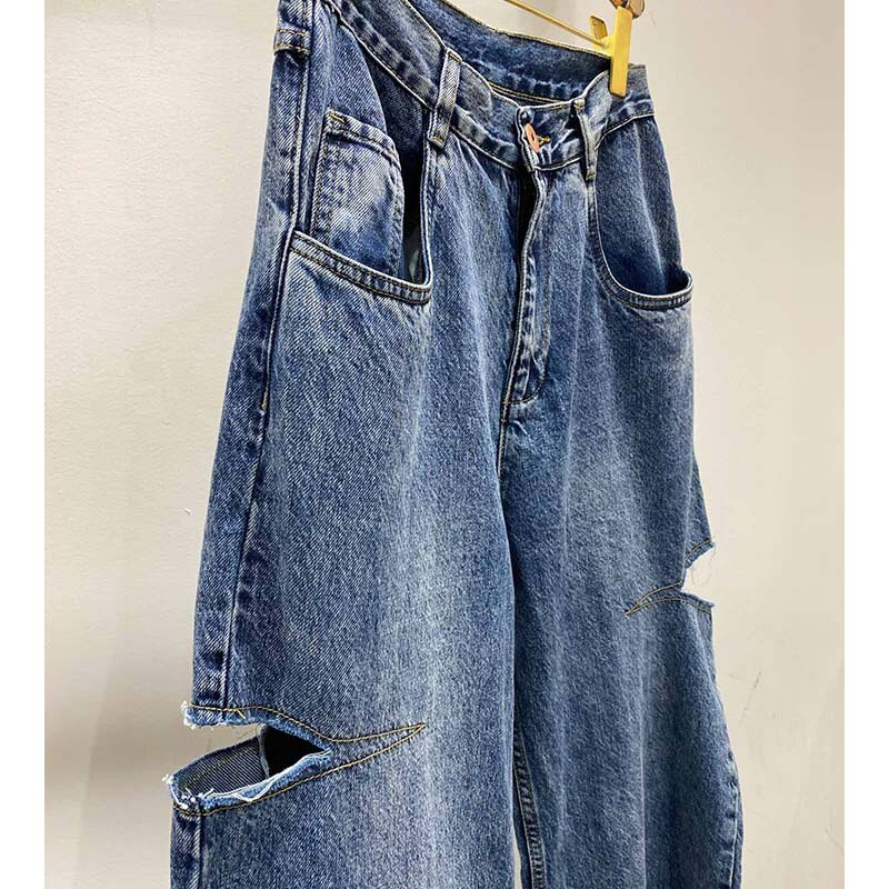 Cosmicchic 2020 Women Straight ripped Jeans Casual Knife Cut Hole Loose Pants High Waist Street Retro Denim Trousers Female 4