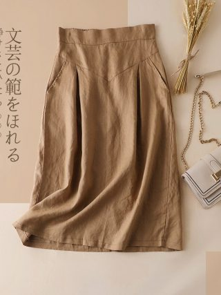 Bohemian Linen Skirt Girls Trend Korean Workplac