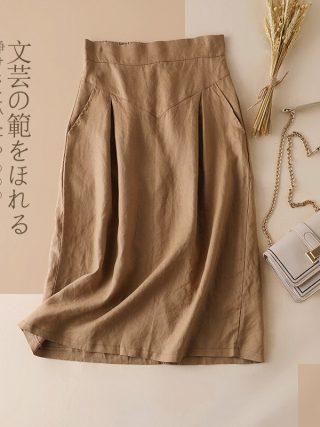 Bohemian Linen Skirt Girls Trend Korean Workplac