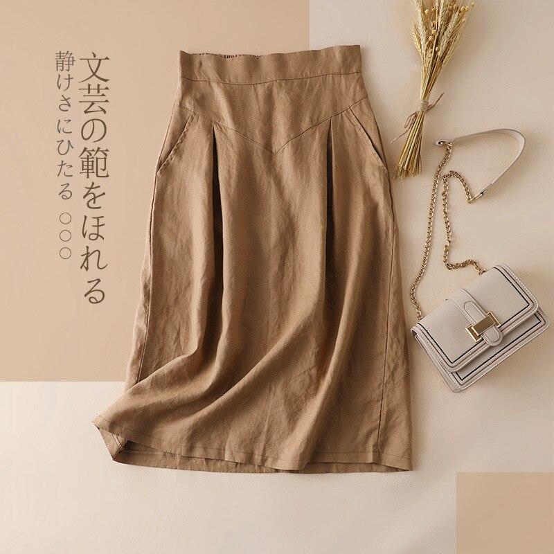 Bohemian Linen Skirt Women Fashion Korean Office Ladies Elegant Causal Plain Bow Long Maxi Skirts Vintage Ol A Line Skirts Green