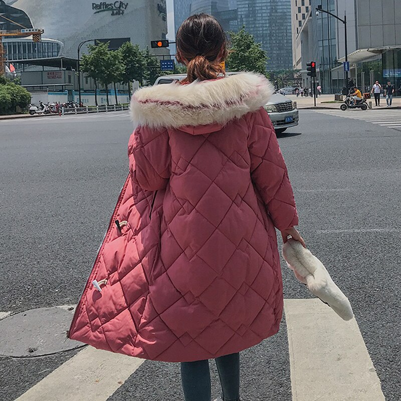 X-long Horn Button Women's Jacket Plus Size Solid Parkas Female Winter Hooded Loose Thick Cotton Padded Casual Outwear Coats 3