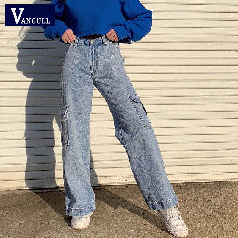 Vangull Pockets Patchwork High Waist Jeans Women Streetwear Straight Casual Jean Femme Blue Cotton Full Length Cargo Pants 1
