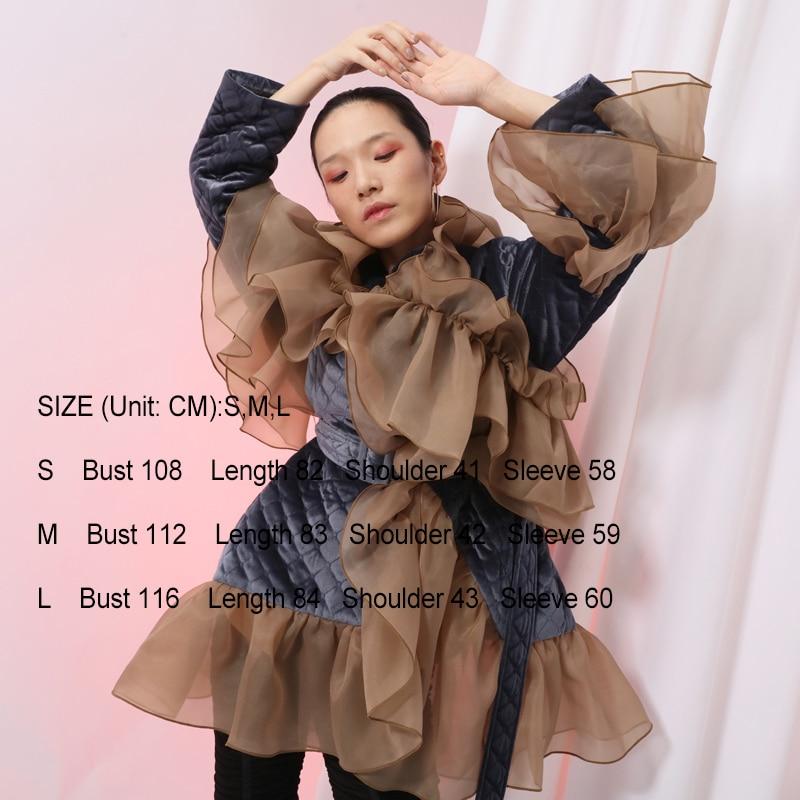 [EAM] 2020 New Spring Ruffles Mesh Stitch Loose Large Size Velour Cotton-padded Coat Women Jacket Fashion Tide JI588 2