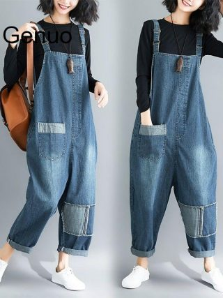 Denim Material Patch Rompers Spring/autumn Overalls