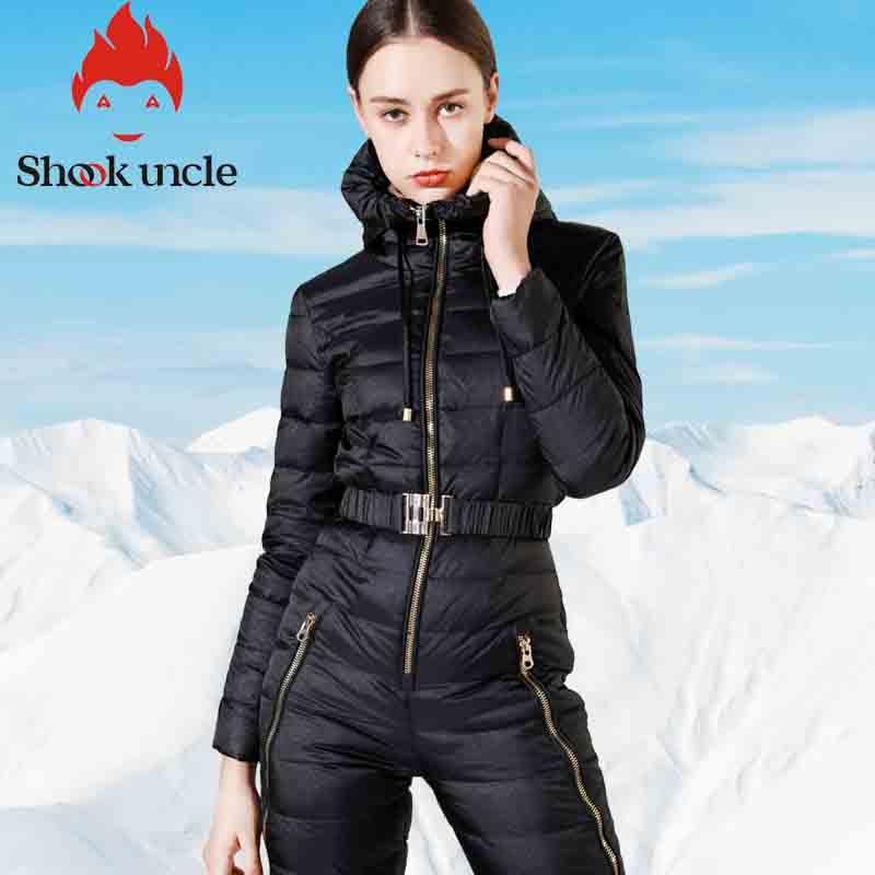 Winter New Women's Slim Fit Jumpsuit 90% White Duck Down Jacket Waist Thickening Warm Slim Elastic Outdoor Ski Women Down Jacket 1