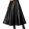 Winter Pu Leather-based Skirt Girls Maxi Lengthy