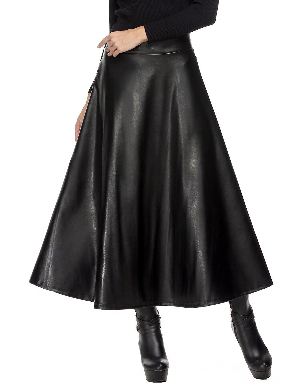 Winter Pu Leather Skirt Women Maxi Long Skirts Womens High Waist Slim Autumn Vintage Pleated Skirt Black Xl Xxl