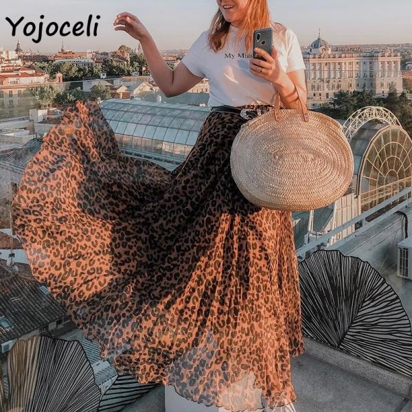 Yojoceli leopard chiffon skirt backside girls lengthy skirt