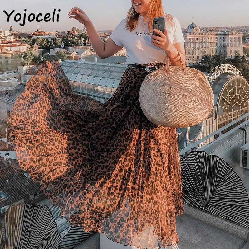 Yojoceli leopard chiffon skirt bottom women long skirt streetwear boho female skirt print skirt bottom