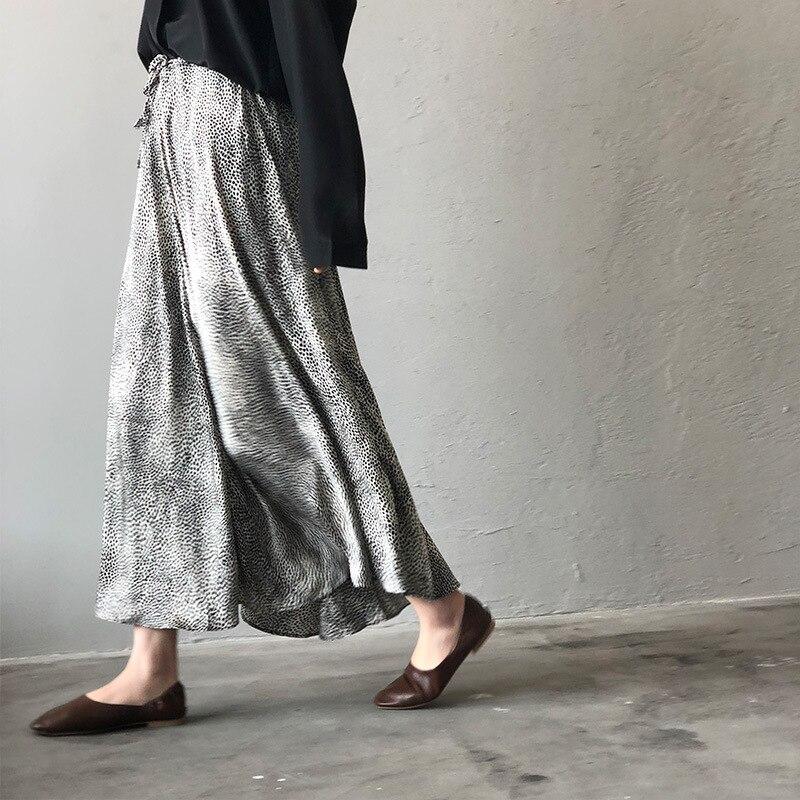 Mooirue Summer 2019 Femme Jupe Retro Gray Leopard Satin Thin High A-line Fit Women Long Skirts 2