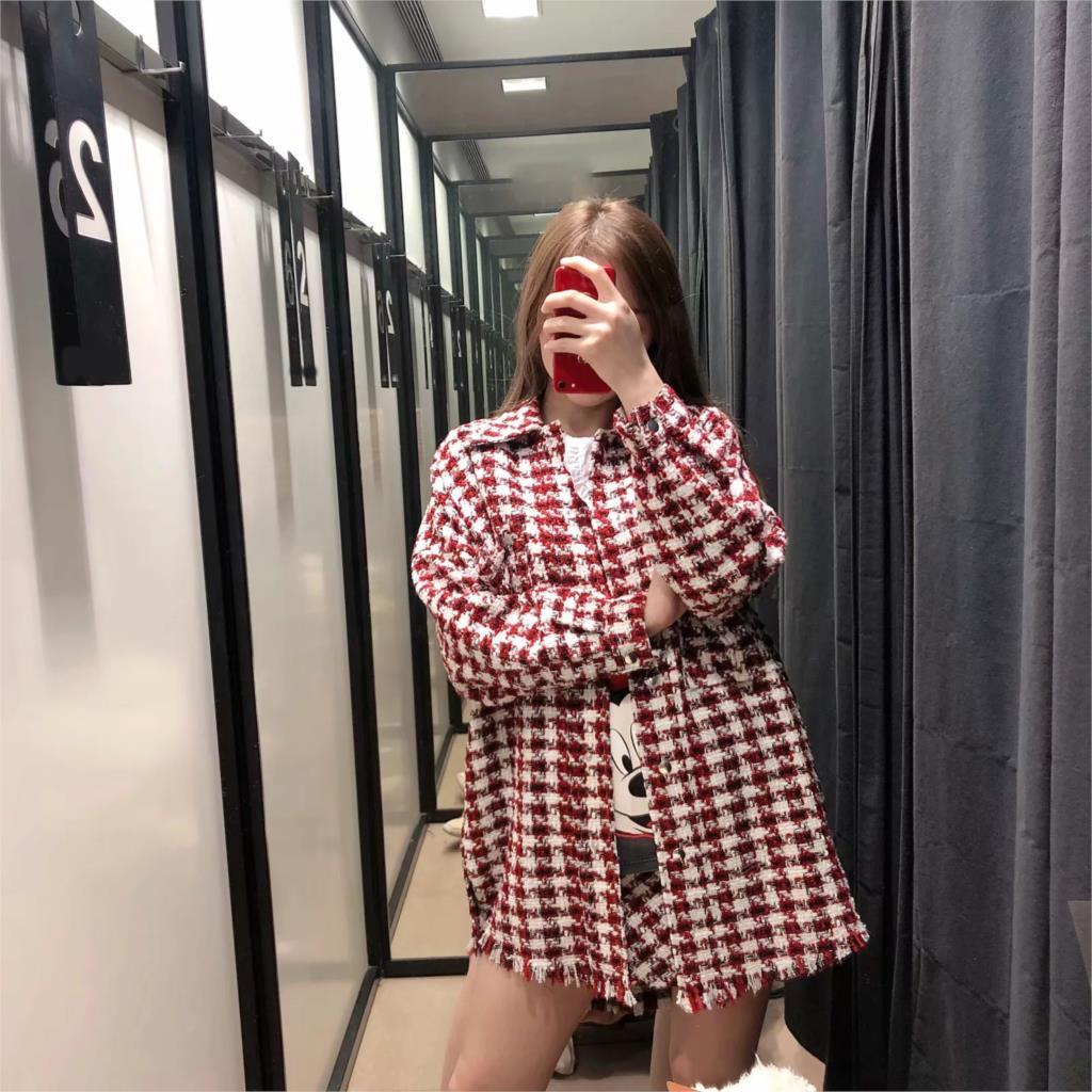 woman jacket houndstooth oversized tweed jacket long sleeve fashion tassel plaid coat loose woolen checkered outwear femme veste 2