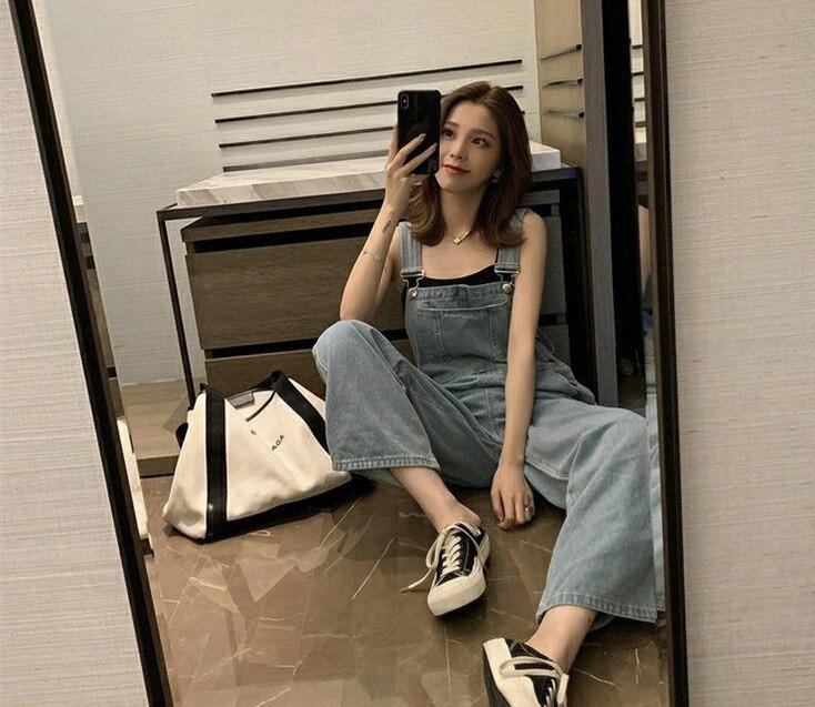 Harajuku Wide Leg Women's Jeans Plus Size 2020 Loose Woman Overalls Jeans Jumpsuit Autumn Fashion Blue Rompers Female Jeans 4