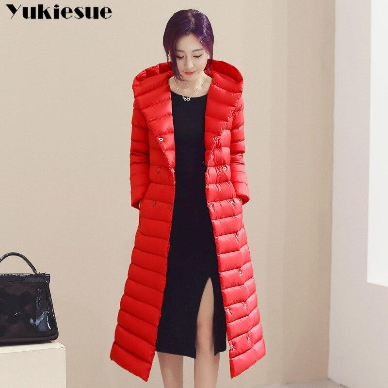 2018 Spring Plus Size 3XL Long Womens Down Jackets Ultra Light 90% Duck Down Coat Winter Hoodie Puffer Jacket womens parkas 2