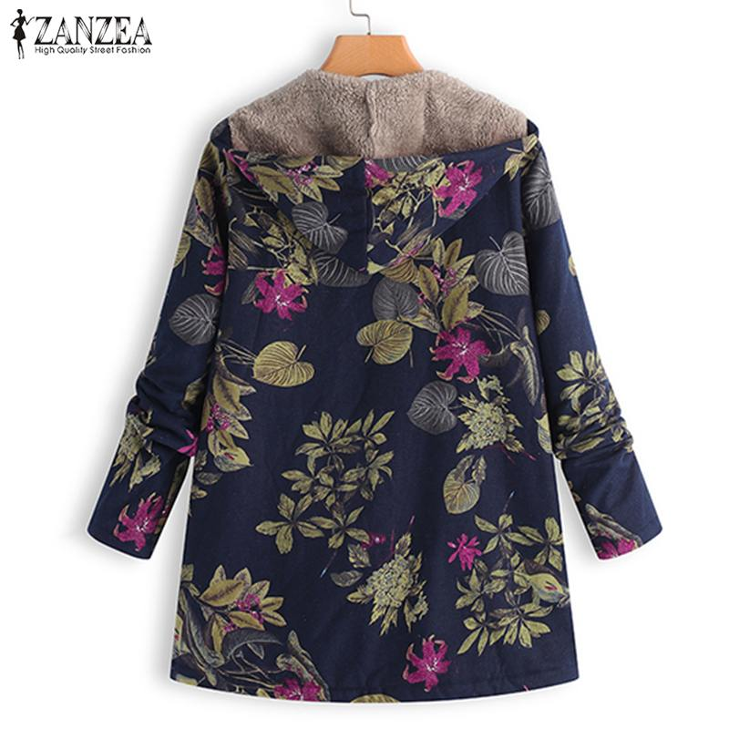 2020 ZANZEA Autumn Winter Warm Print Coat Fur Lining Women's Jackets Female Long Sleeve Hooded Outerwear Zipper Cardigans Tunic 2