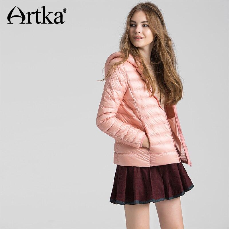 ARTKA 2018 Autumn & Winter Ultra Light Short Women Down Jacket 90% White Duck Down Female Slim Hooded Coat DK11262D 3