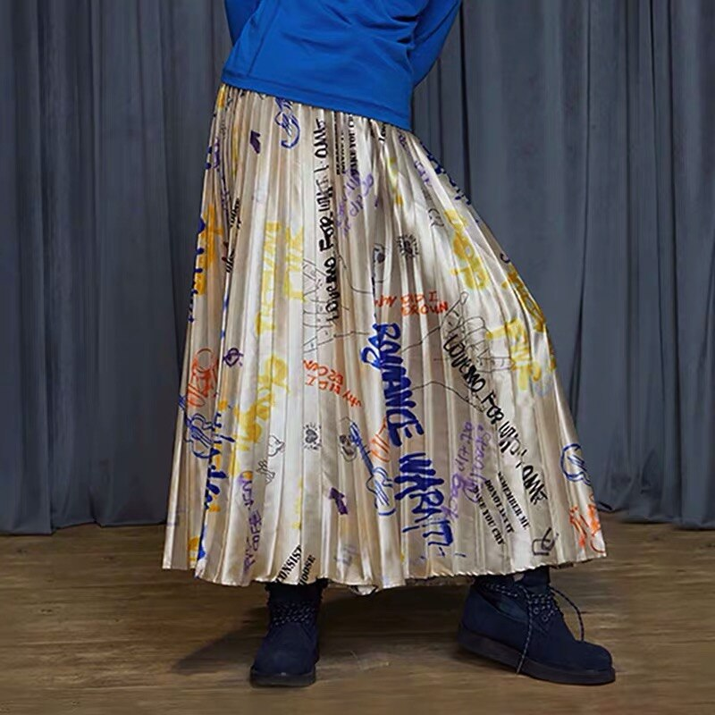 IRINACH32 Fall Winter 2019 New Collection graffiti print long pleated skirt women 1