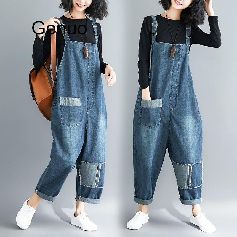 Women Clothing Denim Fabric Patch Rompers Spring/autumn Overalls Women Jumpsuits Suspenders Jeans Women Overalls Female Rompers 1