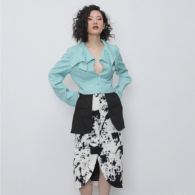 TWOTWINSTYLE Asymmetrical PU Leather Women Jacket Turtleneck Long Sleeve Slim Irregular Coat Female Fashion 2020 Spring Clothing 2