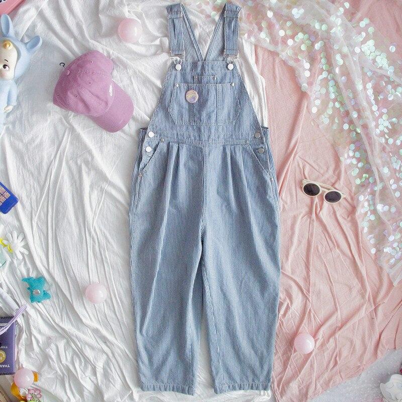 Harajuku Striped Denim Jumpsuit Women Romper Teenage Girl Kawaii Loose Jeans Strap Long Pants Korean Cute Ladies Casual Overalls
