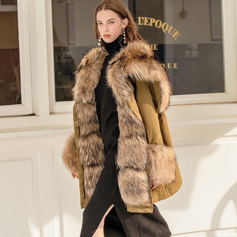 Big Real Raccoon Fox Fur Collar hooded Women Down Jacket 90% White Duck Down Coat Outwear Winter Women's Parka Female Plus Size 2