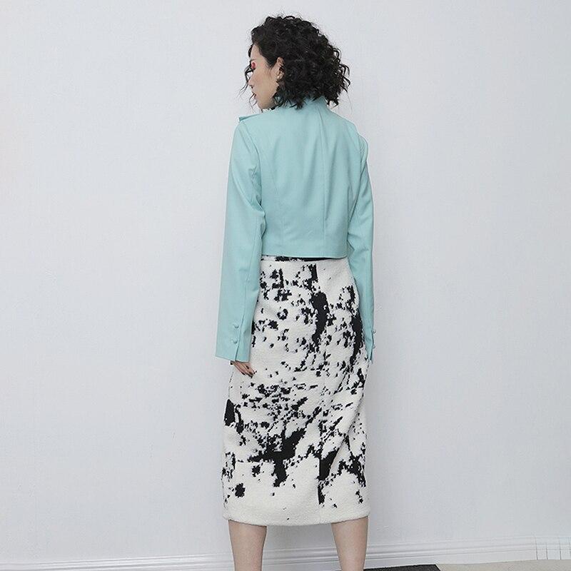 TWOTWINSTYLE Asymmetrical PU Leather Women Jacket Turtleneck Long Sleeve Slim Irregular Coat Female Fashion 2020 Spring Clothing 3