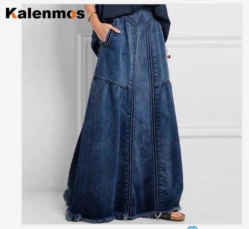 KALENMOS Denim Jeans Women Long Skirt Stretch Vintage Loose Slim Fit Blue Club Streetwear Chic Sexy Harajuku Skirts Plus Size 2