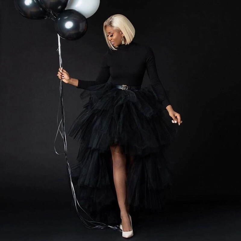 Chic Black Puffy Hi Low Tutu Party Skirt 2020 High Low Tulle Skirt Layered Women Long Skirt for Prom Custom Made 1